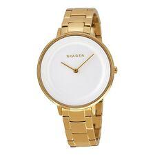 Skagen Ditte SKW2330 Blanco Textura De Tono Oro Reloj de Acero Señoras de la pulsera