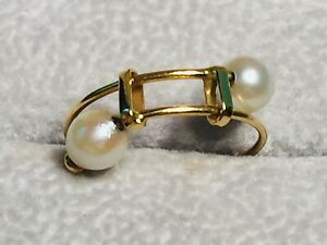 18k Yellow Gold Pearl Bypass Ring - 5.5-7.5