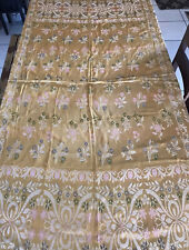 Vintage French Gold Floral Brocade Fabric Tablecloth? 87�by 67�