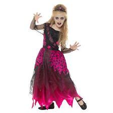 Deluxe Gothic Prom Queen Costume - Girls Halloween Pink Black Dress Tiara