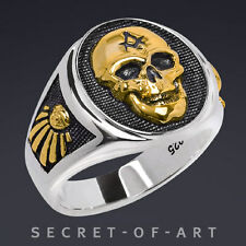 MASONIC SILVER 925 BIG SKULL RING 24K-GOLD PLATED PARTS with ALL SEEING EYE