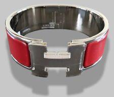 Hermes [80] Red Enamel & AG CLIC CLAC H Wide Bangle Bracelet Sz PM, BNIB !