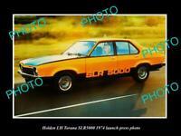 OLD 8x6 HISTORIC PHOTO OF 1974 HOLDEN LH TORANA SLR 5000 LAUNCH PRESS PHOTO