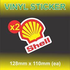 2x VINTAGE SHELL GASOLINE OIL  Sticker SET RETRO Moto Mancave Garage Stickers