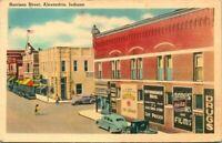 """Vintage Postcard  ALEXANDRIA Indiana  """"HARRISON STREET""""  DRUG STORE  ICE CREAM"""