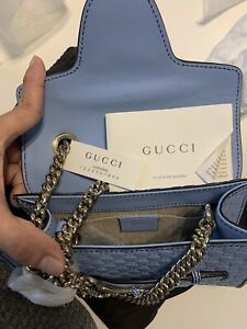 NWT Gucci GG Emily Microguccissima Leather Mini Bag Miner Blue Purse