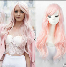 Hot Female Wavy no Lace Wig fashion long curly light pink hair full wigs