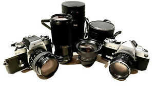 Collection of Minolta SLR cameras, lenses, camera accessories and more