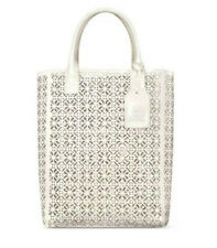 Tory Burch Large White SHOPPER Tote Lace Perforated Patent Handbag