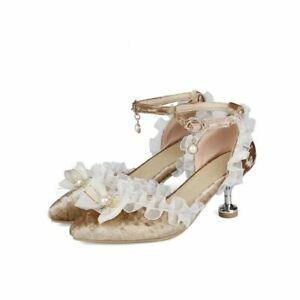 Womens Velvet Lace Kitten Heel Shoes Pointy Toe Sandals Pumps Party Elegant Shoe
