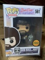 Funko Pop! Bob Ross CHASE with Hoot Owl 561 *NEW *Vaulted *Protector