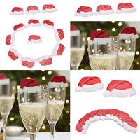 10pcs Carte Adorable Chapeau Flûte Champagne Décor Verre Vin Rouge Fête Noël NF