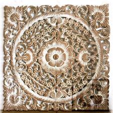 "23.5"" White Lotus Flower Teak Wood Hand Carved Home Decor Wall Panel Art 2 gtahy"