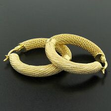 21K Solid Yellow Gold Large Strong Backing Mesh Tube Design Hoop Earrings