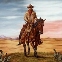 Canvas Print Western Old Cowboy Oil painting Art Giclee Printed on Canvas P1431