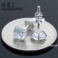 MEN WOMEN 925 STERLING SILVER 5MM LAB DIAMOND ROUND SCREW BACK STUD EARRING*E88