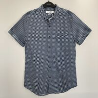 Topman Mens Shirt Size M Short Sleeve Button Down Slim Fit Navy Light Blue