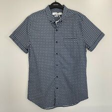 Topman Mens Shirt Size M Short Sleeve Button Down Slim Fit Navy Light Blue