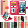 Case For Apple iPhone 5 5S SE Luxury Glitter Flip Wallet Leather Magnetic Cover