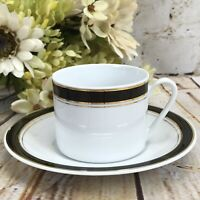 Prestige Cappuccino Cup & Saucer White Black Gold Trimmed Crown Porcelain