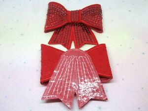 x2 70mm Red Glitter Sequin Bow Tie Sew Glue On Applique DIY Craft Accessory Hair
