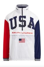 RALPH LAUREN POLO WINDBREAKER USA JACKET RED WHITE BLUE MENS NEW SIZE LARGE #TH3