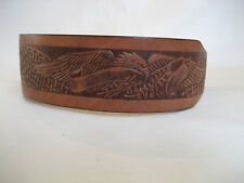 LEATHER TAN/BROWN EAGLE EMBOSS  STAFFY DOG COLLAR
