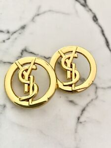 2 Gold Tone Fashion Brand  YSL Buttons , 21 mm