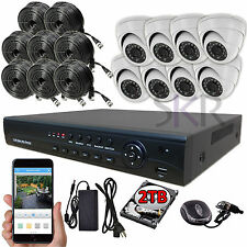 Sikker 8 Ch Channel 1080P DVR Recorder 2 Megapixel Security Camera System 2TB