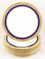 SET(S) 4 SALAD DESSERT PLATES CAULDON L4145 COBALT RAISED GOLD ENCRUSTED LAUREL