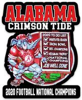 Alabama Crimson Tide 2020 National Football Champs w/ checklist Die-cut MAGNET