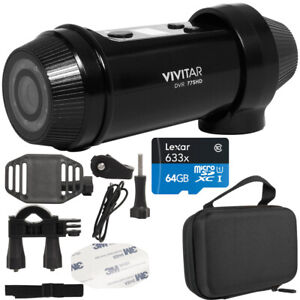 Vivitar FHD Action Camera w/ Bicycle & Helmet Mounting Kit + 64GB Card and Case