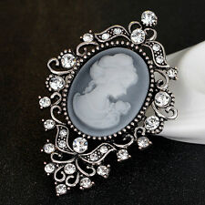 Vintage Style Rhinestone Cameo Brooch/ Pin Silver Color