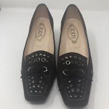 1b9129723f7 Tods Women Chocolate Brown Suede Loafers Metal studs Kitten Heel Pumps sz 9  eu40