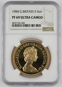 Great Britain 1984 5 Pound 1.177 Oz AGW Gold Proof Coin NGC PF69 UC Better Date