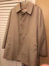 Mens 42R Beige Westchester Classic Rain Coat, Zippered Lining, 3/4 Length (JD)
