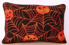 Halloween- Jack O' Lanterns In Orange Spider Webs Tapestry Pillow New