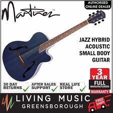 NEW Martinez Jazz Hybrid Acoustic Small Body Cutaway Guitar (Blue)