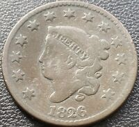1826 Large Cent Coronet Head One Cent 1c Mid Grade but Damage #28998