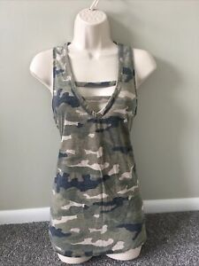Express One Eleven Camo Deep Plunge Lace Up Tank (M)