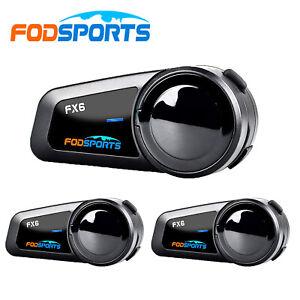 3x FODSPORTS FX6 Motorcycle Intercom Bluetooth Headset Helmet Communication & FM