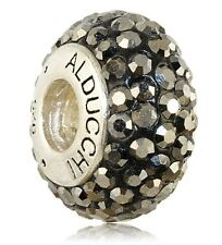 Alducchi Hematite Swarovski Crystal 925 Sterling Silver European Charm Bead
