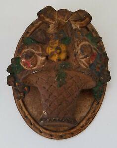 Antique 1920's Cast Iron Hubley Basket of Flowers Door Knocker