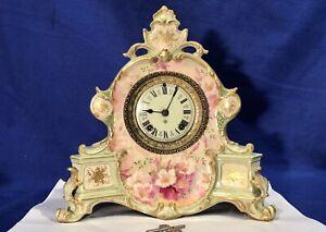 1881 VINTAGE ANTIQUE USA ANSONIA STRIKES KEY WOUND CLOCK,GERMANY PORCELAIN CASE