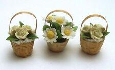 lot paniers avec fleurs miniature,maison de poupée,vitrine,jardin G-T4 *02