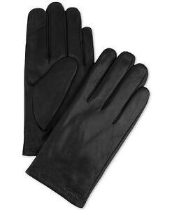 $70 Calvin Klein Men's Fleece-Lined Touchscreen Leather Gloves -Black- XL