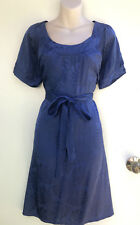 DIANA FERRARI Blue with Shiny Floral Pattern Belted Dress with Short Sleeves 10