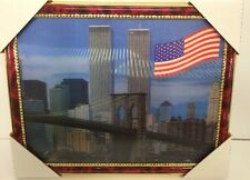 "World Trade Center Picture Framed 3D Twin Towers 13.5"" X 10.5"" New #3"