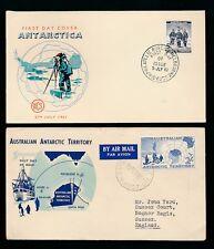 AUSTRALIA ANTARTICO 1957 + 1961 ILLUSTRATO FDC