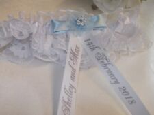 PERSONALISED WHITE BRIDES WEDDING GARTER WITH 'SOMETHING BLUE' ~NEW IN BOX